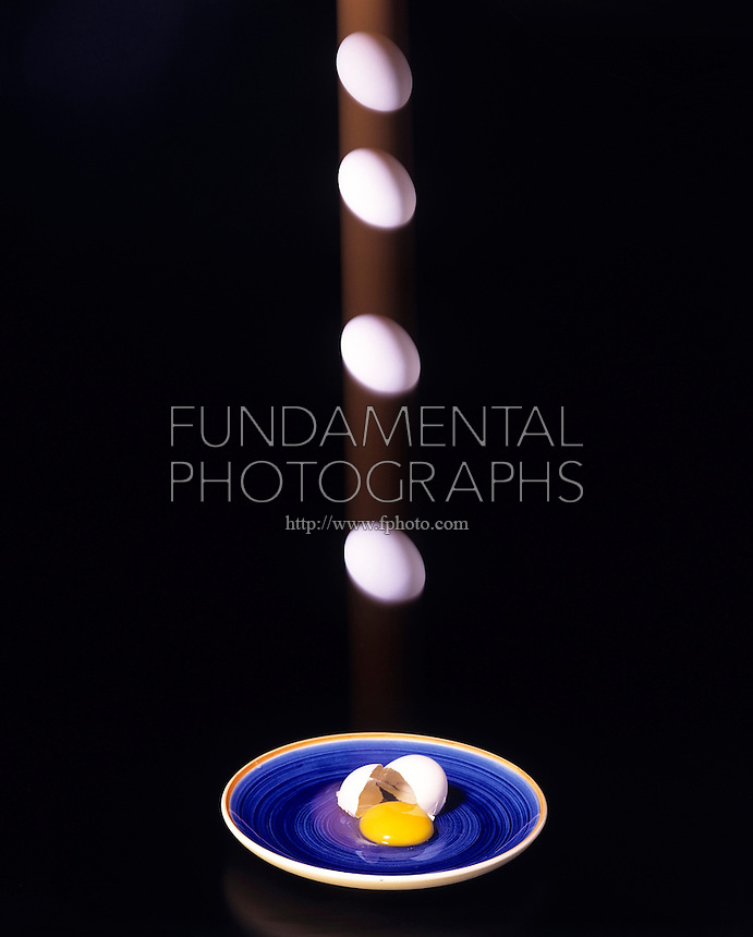 ENTROPY OF A FALLING EGG - stroboscopic<br /> 2nd Law of Motion &amp; Thermodynamics Demonstrated<br /> Acceleration of the falling egg equals the force on it divided by its mass. Entropy of the isolated system represented by the falling egg can only increase or remain the same. The cracked eggshell will not pull itself back together.
