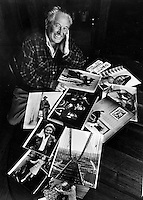 Life Magazine photographer Peter Stackpole at his Oakland home with some of his famous photographs. <br />(1981 photo by Ron Riesterer)