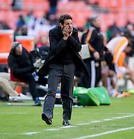 D.C. United head coach Ben Olsen reacts to a referee's call during a Major League Soccer game at RFK Stadium in Washington, DC. D.C. United vs. Houston Dynamo, 2-1.