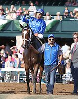 LEXINGTON, KY - April 15, 2017.  #4 Dickinson and jockey Paco Lopez win the 29th running of The Coolmore Jenny Wiley Grade 1 $350,000 for owner Godolphin Racing and trainer Kiaran McLaughlin at Keeneland Race Course, over #1 Lady Eli and jockey Irad Ortiz Jr.  Lexington, Kentucky. (Photo by Candice Chavez/Eclipse Sportswire/Getty Images)