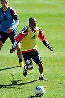 Dane Richards (19) of the New York Red Bulls during a practice at Red Bull Arena in Harrison, NJ, on March 16, 2010.