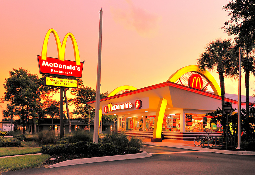 Mc Donalds in the evening, Atlantic Beach near Jacksonville, Florida, USA