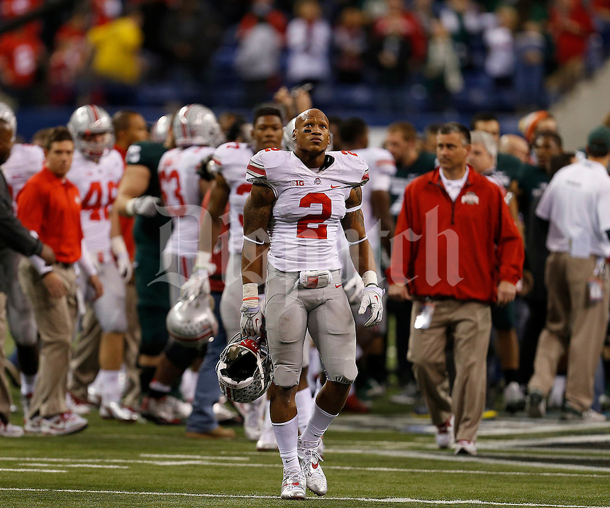 Ohio State Buckeyes linebacker Ryan Shazier (2) walks off the field following the Big Ten Championship football game at Lucas Oil Stadium in Indianapolis on Friday, December 7, 2013. (Columbus Dispatch photo by Jonathan Quilter)