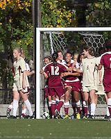Florida State forward/defender Toni Pressley (23) celebrates her penalty kick score. Florida State University defeated Boston College, 1-0, at Newton Soccer Field, Newton, MA on October 31, 2010.