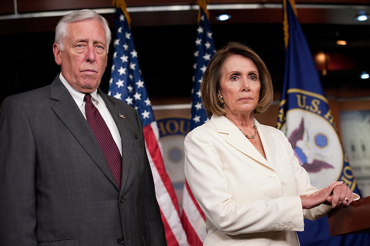 UNITED STATES - OCTOBER 13:  House Minority Leader Nancy Pelosi, D-Calif., and House Minority Whip Steny Hoyer, D-Md., conduct a news conference in the Capitol Visitor Center on reduction of the national debt and job creation.  (Photo By Tom Williams/Roll Call)