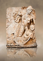 Photo of Roman releif sculpture of Emperor Claudius About to vanquish Britanica from Aphrodisias, Turkey, Images of Roman art bas releifs. Buy as stock or photo art prints. Naked warrior Claudius id about to deliver the death blow to Britanica.   From The South Building, Rooms 1-3, Mythological Releifs.