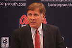 Ole Miss athletic director Pete Boone speaks about the football program during a press conference in Oxford, Miss. on Monday, Sept. 19, 2011.