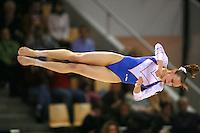 Oct 16, 2006; Aarhus, Denmark; Sandra Izbasa of Romania floor exercise closeup turning during women's gymnastics team competition at 2006 World Championships Artistic Gymnastics.<br />