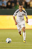 CARSON, CA – May 7, 2011: LA Galaxy midfielder Juninho (19) during the match between LA Galaxy and New York Red Bull at the Home Depot Center, May 7, 2011 in Carson, California. Final score LA Galaxy 1, New York Red Bull 1.