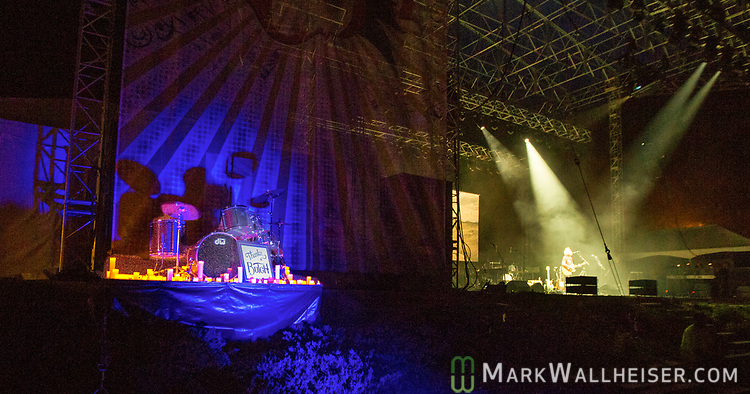 An empty candle lit drum set sat just offstage in honor of Butch Trucks during the 2017 Wanee Festival at the Spirit of the Suwannee Music Park in Live Oak, Florida.