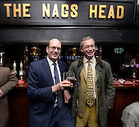 NOV 20 Mark Reckless & Nigel Farage relaxing in the Nags Head Pub