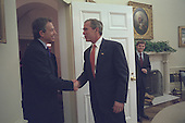 United States President George W. Bush welcomes Prime Minister Tony Blair of Great Britain to the Oval Office of the White House in Washington, D.C. on Wednesday, November 7, 2001..Mandatory Credit: Eric Draper - White House via CNP.