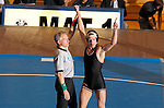 12 MAR 2011:  Jon Sundgren of St. Cloud State (in black with red trim) celebrates after defeating Dillon Bera of Wisconsin-Parkside during the Division II Men's Wrestling Championship held at the UNK Health and Sports Center on the University of Nebraska - Kearney campus in Kearney, NE.   Sundgren defeated Bera 3-0 to win the157-lb national title Corbey R. Dorsey/ NCAA Photos