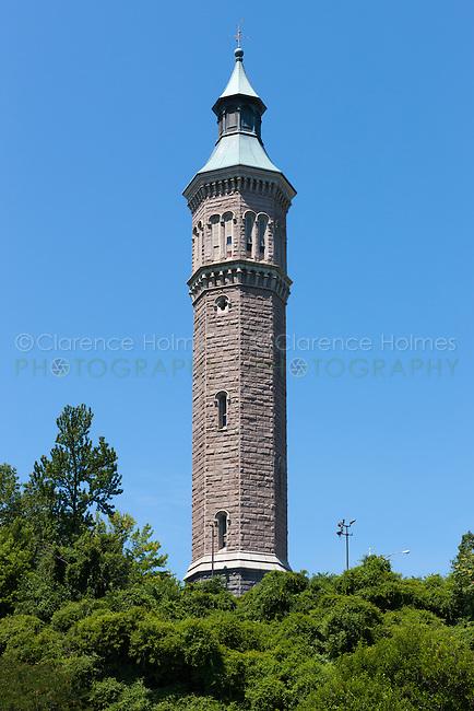 View of the octagonal Water Tower in Highbridge Park in Manhattan in New York City.