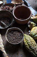 The traditional process of making chocolate. The Jesus Maria Hacienda a cacao plantation and chocolate factory. Comalcalco, Tabasco, Mexico