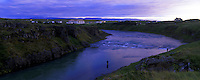 Salmon fly fishermen in Blanda river near Blondos Iceland. Images taken with Hasselblad Xpan camera and Fuji Velvia film.