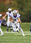 8 October 2016: Amherst College Purple & White Wide Receiver Devin Boehm, a Senior from Wilmette, IL, in action against the Middlebury College Panthers at Alumni Stadium in Middlebury, Vermont. The Panthers edged out the Purple & While 27-26. Mandatory Credit: Ed Wolfstein Photo *** RAW (NEF) Image File Available ***