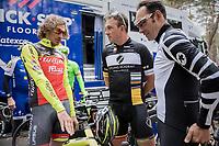 Johan Museeuw, Filippo 'Pipo' Pozzato (ITA/Wilier Triestina–Southeast) & Erik Zabel chatting ahead of the Tom Boonen farewell race/criterium 'Tom Says Thanks!' in Mol/Belgium