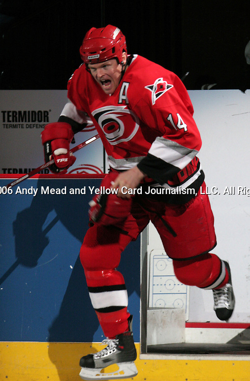 Carolina's Kevyn Adams takes the ice for the start of the game on Saturday, April 22, 2006 at the RBC Center in Raleigh, North Carolina. The Montreal Canadiens defeated the Carolina Hurricanes 6-1 in the first game of their best of seven NHL Eastern Conference Quarterfinal series.