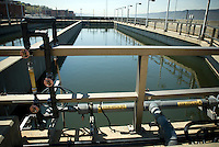 De-chlorinating tanks at Yonkers Sewage Treatment Plant in the city of Yonkers, NY in Westchester County on Saturday, April 25, 2009. (© Richard B. Levine)