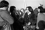 Peace Movement. Peace People. Peace March. Mairead Corrigan Maguire meets well wishers Hyde Park London rally then march to Trafalgar Square. 1976 ...My ref 7/1481/, 1976,
