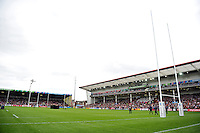 A general view of Kingsholm Stadium prior to the match. Rugby World Cup Pool B match between Scotland and Japan on September 23, 2015 at Kingsholm Stadium in Gloucester, England. Photo by: Patrick Khachfe / Onside Images