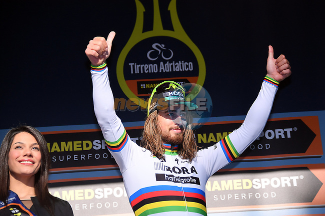 World Champion Peter Sagan (SVK) Bora-Hansgrohe wins Stage 5 of the 2017 Tirreno Adriatico running 210km from Rieti to Fermo, Italy. 12th March 2017.<br /> Picture: La Presse/Gian Mattia D'Alberto | Cyclefile<br /> <br /> <br /> All photos usage must carry mandatory copyright credit (&copy; Cyclefile | La Presse)