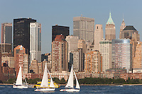 Sailboats on the Hudson River, with the lower Manhattan financial district as a backdrop, from Liberty State Park, New Jersey