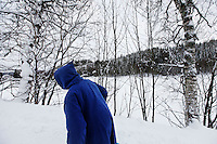 "Brother Cyril walking back to the monastery after refilling the self serve shop...The new Munkeby Mariakloster - kloster is Norwegian for monastery . The four founding French monks will establish their discrete presence as a contemplative monastery according to the Rule of Saint Benedict, written in the 6th century. Brother Joel (55) & Cîteaux's Prior, brothers Arnaud (31), Bruno (33) and Cyril (81), have all chosen to be part of the founding community, despite Norway's rude climate and winter darkness at latitude 63º N, not far from the arctic circle.Munkeby, the ""place of the monks"" was the third and northernmost Norwegian monastery established by the Cistercians in the 12th century"