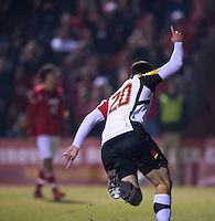 Jake Pace (20) of Maryland celebrates a goal during the game at Ludwig Field in College Park, MD.  Maryland defeated Louisville, 3-1.