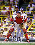 CHICAGO - UNDATED:  Baseball Hall of Fame catcher Carlton Fisk of the Chicago White Sox catches during an MLB game at Comiskey Park in Chicago, Illinois.  Fisk played for the White Sox from 1981-1993. (Photo by Ron Vesely)