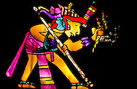 superp cover image of a colorfull aztec priest in stained glass, holding a sacrifisal knife and a spear foto, reise, photograph, image, images, photo,<br /> photos, photography, picture, pictures, urlaub, viaje, vacation, imagen, viagi, stock