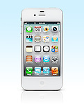White iPhone 4s Apple smartphone isolated on gradient light blue background with clipping path