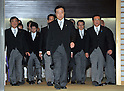 September 2, 2011, Tokyo, Japan - Japan's new Prime Minister Yoshihiko Noda, center, leads his Cabinet, all informal attire, for a photo session following a swearing-in ceremony before Emperor Akihito at the Imperial Palace in Tokyo on Friday, September 2, 2011. Noda, 54, formed his Cabinet with relatively unknown lawmakers to tackle a tall task to reconstruct the quake-hit area and the countrys economy. (Photo by Natsuki Sakai/AFLO) [3615] -mis-