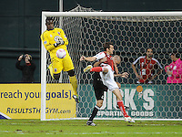 D.C. United goalkeeper Bill Hamid (28) goes up to defend the play. D.C. United tied The Portland Timbers 1-1at RFK Stadium, Wednesday October 19, 2011.
