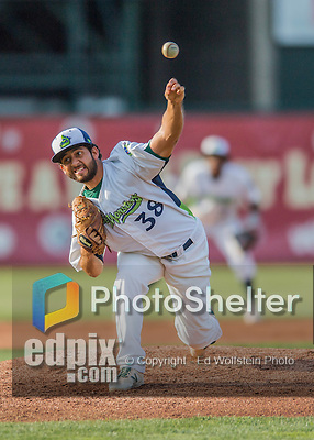 30 July 2016: Vermont Lake Monsters pitcher Ivan Andueza on the mound against the Brooklyn Cyclones at Centennial Field in Burlington, Vermont. The Lake Monsters defeated the Cyclones 7-1 in NY Penn League play. Mandatory Credit: Ed Wolfstein Photo *** RAW (NEF) Image File Available ***