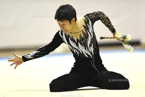 Takehiro Saito, <br /> NOVEMBER 16, 2014 - Rhythmic Gymnastics : 67th All Japan Rhythmic Gymnastics Championships, Men's Individual Clubs at Yoyogi 1st Gymnasium in Tokyo, Japan. <br /> (Photo by AFLO SPORT) [1220]
