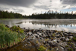 Idaho, eastern, Island Park. The outlet of Silver Lake as it steams after a summer rain storm.