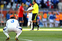 Maynor Figueroa of Honduras is dejected after the defeat against Chile