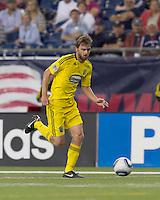 Columbus Crew midfielder Eddie Gaven (12) dribbles down the wing. The New England Revolution tied Columbus Crew, 2-2, at Gillette Stadium on September 25, 2010.