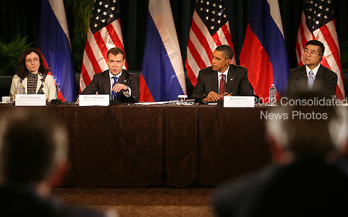 United States President Barack Obama and President Dmitry Medvedev of the Russian Federation participate in a business summit at the U.S. Chamber of Commerce during the Russian president's visit to Washington, DC, Thursday, June 24, 2010.  .Credit: Martin H. Simon - Pool via CNP