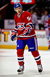 22 March 2010: Montreal Canadiens' center Tom Pyatt warms up prior to a game against the Ottawa Senators at the Bell Centre in Montreal, Quebec, Canada. The Senators shut out the Canadiens 2-0 in their last meeting of the regular season. Mandatory Credit: Ed Wolfstein Photo