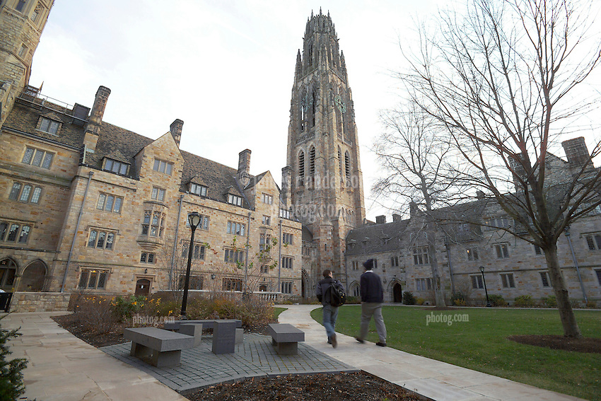 Yale University Campus, The Branford College Quad in Early Winter, Student's walking back to camera.