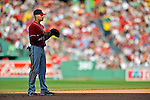 9 June 2012: Washington Nationals shortstop Ian Desmond stands ready in the infield during a game against the Boston Red Sox at Fenway Park in Boston, MA. The Nationals defeated the Red Sox 4-2 in the second game of their 3-game series. Mandatory Credit: Ed Wolfstein Photo
