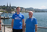 FC Luzern v St Johnstone...16.07.14  Europa League 2nd Round Qualifier<br /> Fans arrive in Lucerne... From left Son &amp; father George and Allan Lauder from Crieff on the banks of the Vierwaldstattersee<br /> Picture by Graeme Hart.<br /> Copyright Perthshire Picture Agency<br /> Tel: 01738 623350  Mobile: 07990 594431