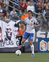 Montreal Impact defender Jeb Brovsky (15) controls the ball. In a Major League Soccer (MLS) match, Montreal Impact defeated the New England Revolution, 1-0, at Gillette Stadium on August 12, 2012.