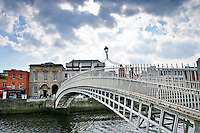 Liffey Bridge in Dublin, Ireland is a pedestrian bridge also known as Ha'penny Bridge, Metal Bridge,and  Wellington Bridge.