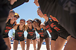 GULF SHORES, AL - MAY 07: The University of Southern California team prepares to take on Pepperdine University during the Division I Women's Beach Volleyball Championship held at Gulf Place on May 7, 2017 in Gulf Shores, Alabama. The University of Southern California defeated Pepperdine 3-2 to claim the national championship. (Photo by Stephen Nowland/NCAA Photos via Getty Images)