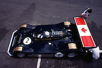 Chris Amon in the 1977 Walter Wolf Racing Can-Am car at Le Circuit Mont Tremblant, St. Jovite, Quebec, Canada.