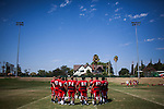 FRESNO, CA - AUGUST 11, 2014:   Fresno State's defensive line huddles at the end of morning practice. CREDIT: Max Whittaker for The New York Times